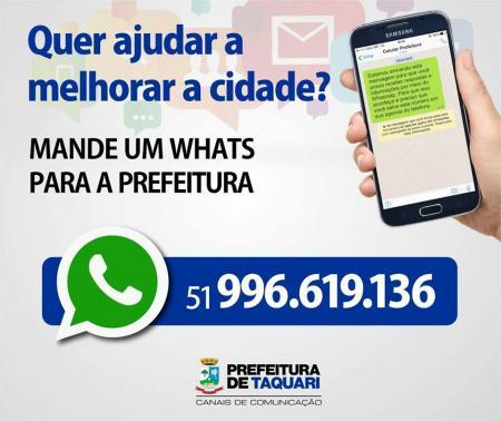 Prefeitura conta com serviço de Whatsapp