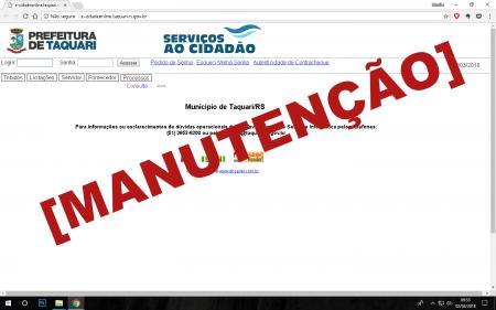 Área de Serviços ao Cidadão no site da Prefeitura passará por manutenção