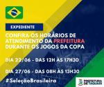 Prefeitura altera o horário de expediente durante os jogos da Copa